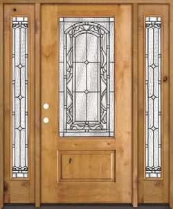 3/4 Lite Knotty Alder Wood Door Unit with Sidelites #272