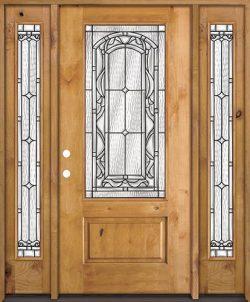 3/4 Lite Knotty Alder Wood Door Unit with Sidelites #272
