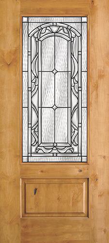 3/4 Lite Knotty Alder Wood Door Slab #272