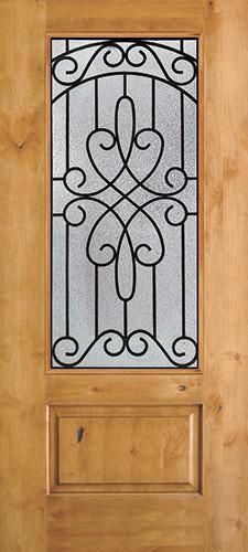 3/4 Lite Knotty Alder Wood Door Slab #279