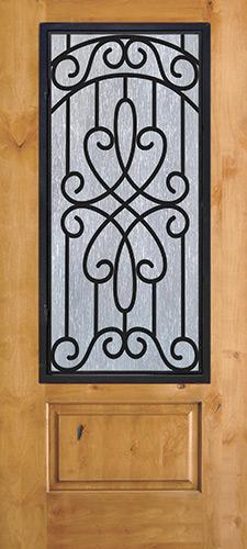 3/4 Iron Grille Knotty Alder Wood Door Slab #62