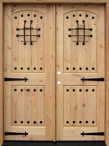 Rustic Knotty Alder Wood Double Door Unit with Straps #UK20