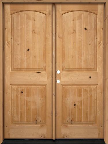 Rustic Knotty Alder Wood Double Door Unit #UK25