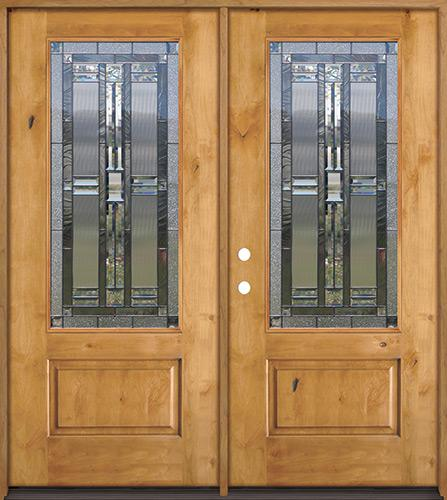 3/4 Lite Knotty Alder Wood Double Door Unit #277