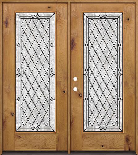 Diamond Full Lite Knotty Alder Wood Double Door Unit #294