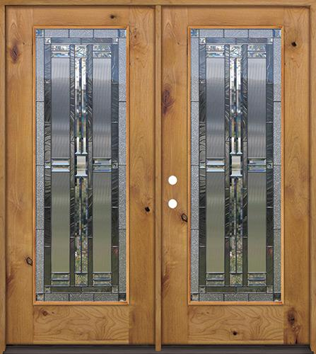Full Lite Knotty Alder Wood Double Door Unit #297