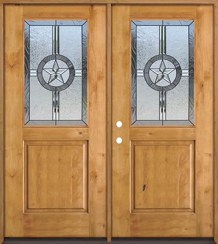 Half Lite Star Knotty Alder Wood Double Door Unit #40