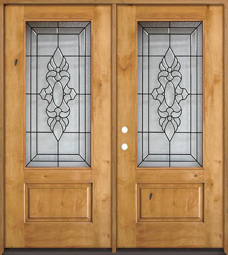 3/4 Lite Knotty Alder Wood Double Door Unit #73