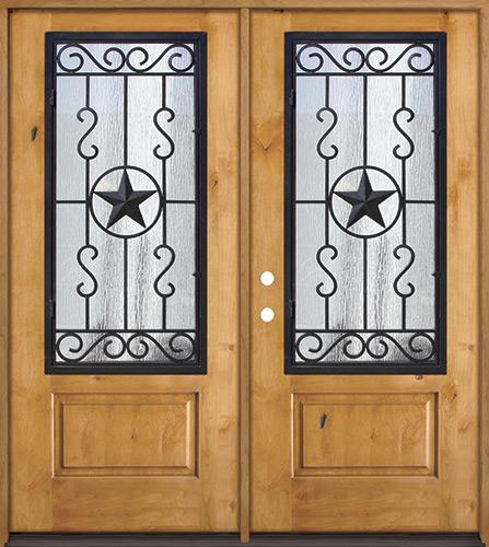 3/4 Iron Grille Texas Star Knotty Alder Wood Double Door Unit #75