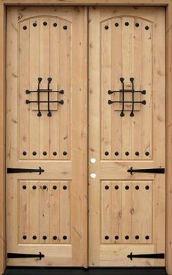 """8'0"""" Tall Rustic Knotty Alder Wood Double Door Unit with Straps #UK20"""