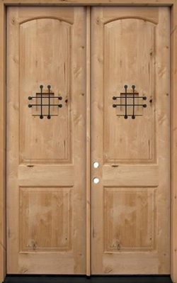 "8'0"" Tall Rustic Knotty Alder Wood Double Door Unit #UK26"