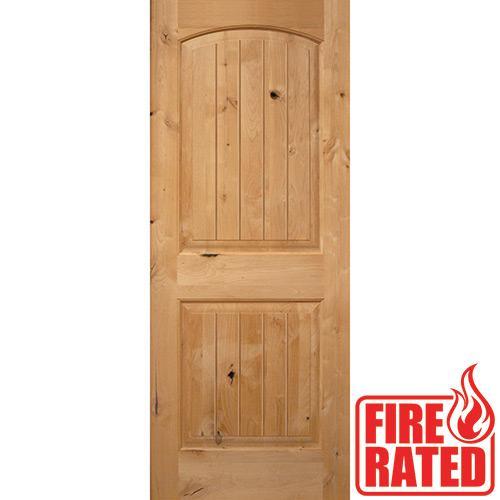 "Fire Rated 6'8"" 2-Panel Arch V-Groove Knotty Alder Door Slab"