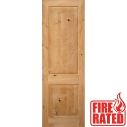 "Fire Rated 8'0"" 2-Panel Square Top Knotty Alder Door Slab"
