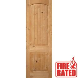"Fire Rated 8'0"" 2-Panel Arch V-Groove Knotty Alder Door Slab"
