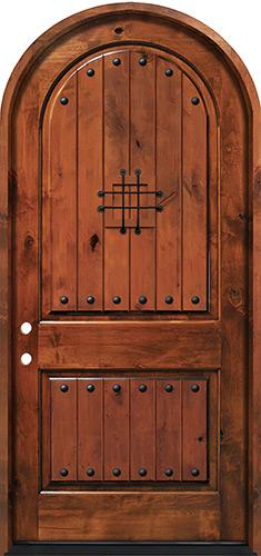 "3'6"" x 8'0"" Knotty Alder Radius Top Deluxe Prehung Entry Door"