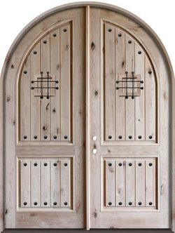 "8'0"" Tall Rustic Knotty Alder Radius Top Double Door"