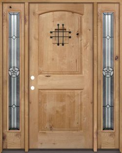 Rustic Knotty Alder Wood Door Unit with #90 Star Sidelites #UK26
