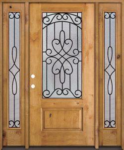 3/4 Lite Knotty Alder Wood Door Unit with Sidelites #279