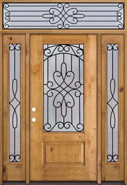 3/4 Lite Knotty Alder Wood Door Unit with Transom #279