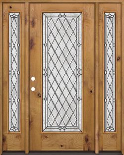 Diamond Full Lite Knotty Alder Wood Door Unit with Sidelites #294