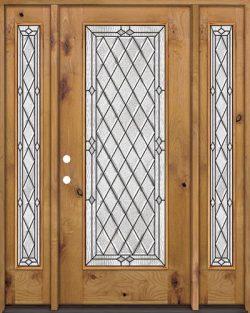 Diamond Full Lite Knotty Alder Wood Door Unit with Sidelites #294