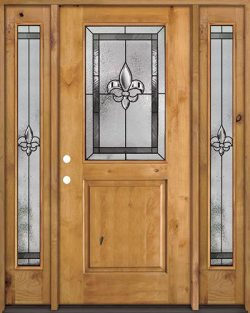 Half Lite Fleur-de-lis Knotty Alder Wood Door Unit with Sidelites #41