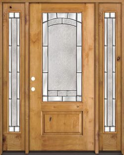 3/4 Lite Knotty Alder Wood Door Unit with Sidelites #67