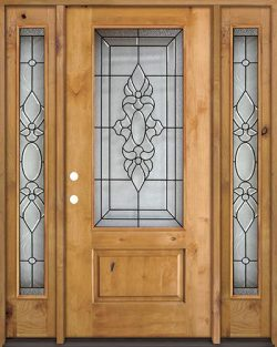 3/4 Lite Knotty Alder Wood Door Unit with Sidelites #73