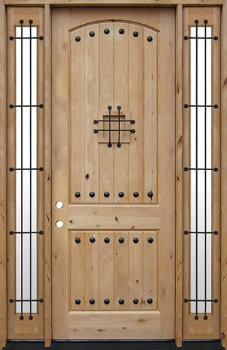 """8'0"""" Tall Rustic Knotty Alder Wood Door Unit with Sidelites #UK20"""
