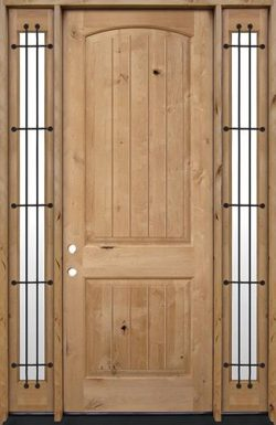 "8'0"" Tall Rustic Knotty Alder Wood Door Unit with Sidelites #UK25"