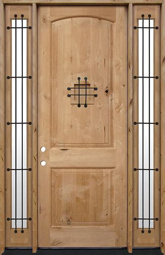 """8'0"""" Tall Rustic Knotty Alder Wood Door Unit with Sidelites #UK26"""