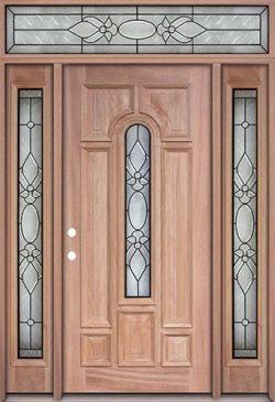 Center Arch Mahogany Prehung Wood Door Unit with Transom #UM58