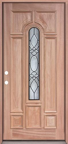 Center Arch Mahogany Prehung Wood Door Unit #UM58