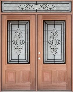 3/4 Lite Mahogany Prehung Wood Double Door Unit with Transom #UM73