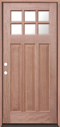 Craftsman 6-Lite Mahogany Prehung Wood Door Unit #UM43