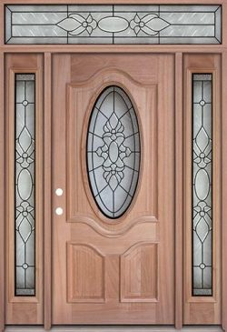 3/4 Oval Mahogany Prehung Wood Door Unit with Transom #UM64