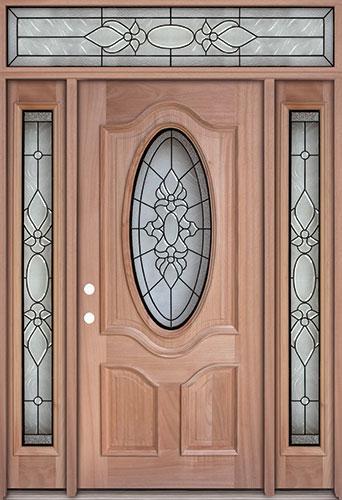 3/4 Oval Mahogany Prehung Wood Door Unit with Transom #UM64