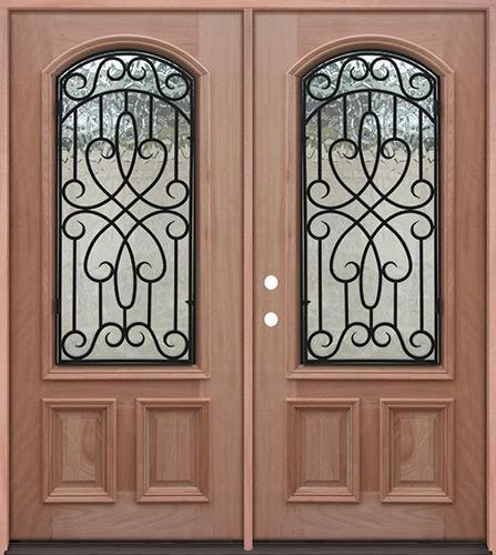 2/3 Arch Grille Mahogany Prehung Double Wood Door Unit #A623FA