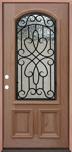 2/3 Arch Grille Mahogany Prehung Wood Door Unit #A623FA