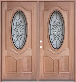 3/4 Oval Mahogany Prehung Double Wood Door Unit #UM64