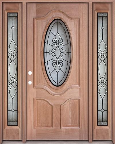 3/4 Oval Mahogany Prehung Wood Door Unit with Sidelites #UM64