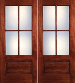Preston 4-Lite Low-E 1-Panel Mahogany Prehung Wood Double Door Unit