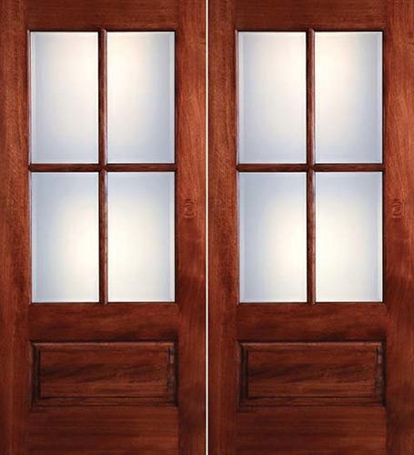Preston 4-Lite Low-E 1-Panel Mahogany Prehung Wood Double Door Unit