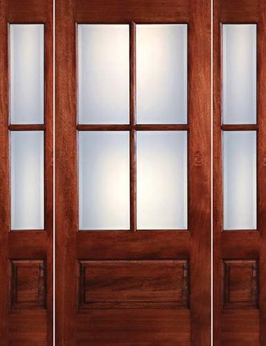 Preston 4-Lite Low-E 1-Panel Mahogany Prehung Wood Door Unit with Sidelites