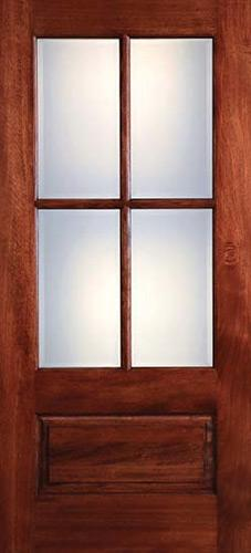 Preston 4-Lite Low-E 1-Panel Mahogany Wood Door Slab
