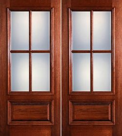 Preston 4-Lite Low-E 1-Panel Raised Mahogany Prehung Wood Double Door Unit