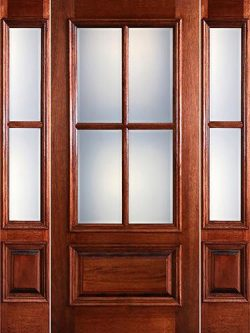 Preston 4-Lite Low-E 1-Panel Raised Mahogany Prehung Wood Door Unit with Sidelites