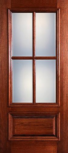 Preston 4-Lite Low-E 1-Panel Raised Mahogany Wood Door Slab