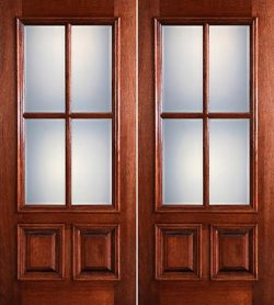 Preston 4-Lite Low-E 2-Panel Raised Mahogany Prehung Wood Double Door Unit