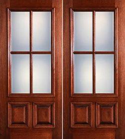 Preston 4-Lite Low-E 2-Panel Raised Mahogany Prehung Wood Double Door Unit